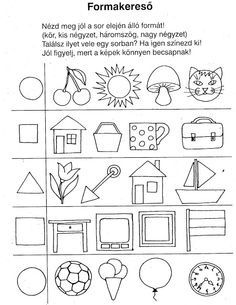 Ovisélet : Nyomtatható feladatlapok II. Shapes Worksheet Kindergarten, Kindergarten Assessment, Shapes Worksheets, Preschool Worksheets, Kindergarten Activities, Triangle Drawing, Visual Perception Activities, Prewriting Skills, Basic Geometry