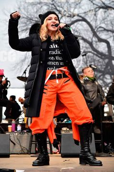 Madonna performs onstage during the Women's March on Washington on January 21, 2017 in Washington.  Madonna' speech was reported not only for its power but also because of its decline to bad words: Madonna's unexpected F-bombs caused moreover CNN and MSNBC to panic and cut away from her mid-speech.