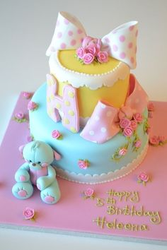 Polka dot and teddy bear cake.This looks really cute.Please check out my website thanks. www.photopix.co.nz