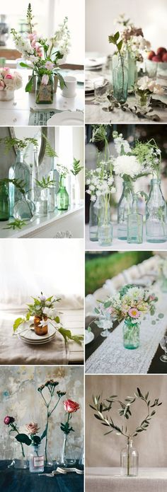 Bottle Wedding Centrepiece Table Centerpiece Green Blue Organic Rustic