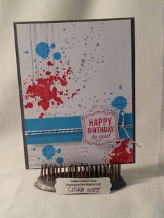 handmade birthday card from Create Embellish Adore: Grunge Birthday ... red, white and blue ,,, (Why not call this paint splat art?) ... cute tag with sentiment ... fun card ...