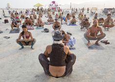 Sunset yoga at Burning Man 2014