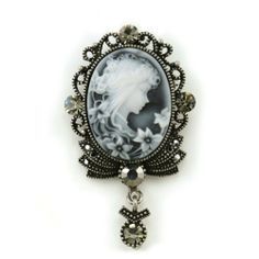 White Light Gray Cameo Brooch Pin Charm Classic Antique Silver Tone Grey Stones Oval Ladies Women Fashion Jewelry Necklace Pendant Compatible Soulbreezecollection. $12.99. Stone: Gray (Colors May Vary Due To Different Display Settings). Brooch Size: Approx 1.25 Inch Width x 2.25 Inch Length. Nickel and Lead Free / Lead Compliant. Please note that this brooch can also be used as a pendant!. Material: Rhodium Plated; Condition: Brand New. Save 35% Off!