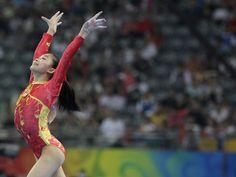 Jiang Yuyuan of China on floor at the 2008 Olympics