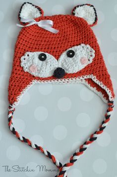 Crochet Kids Fox Hat Pattern thestitchinmommy.com ( oh my goodness..Destineys mouth opened huge when I showed her this! I gotta learn to crochet darn it!! --Misty)