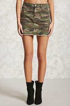 Saint Laurent Camouflage Print Denim Mini Skirt 665