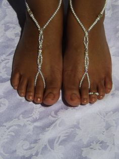 Barefoot sandals Foot jewelry Anklet by SubtleExpressions on Etsy, $49.00