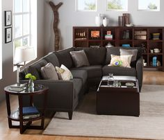 placement of couch away from window Light Gray wall, white trim, dark light woods, charcoal couch, etc. Grey Walls White Trim, Light Grey Walls, Gray Walls, Color Walls, Wall Colors, Colours, Condo Living, Rugs In Living Room, Living Room Decor