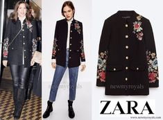 Crown Princess Mary wore Zara Floral Embroidered Military Style Coat  www.newmyroyals.com