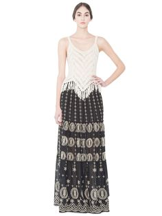 LYSA EMBROIDERED CONVERTIBLE MAXI SKIRT by Alice + Olivia