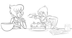 Lapis and Pearl trying to cook something for Steven