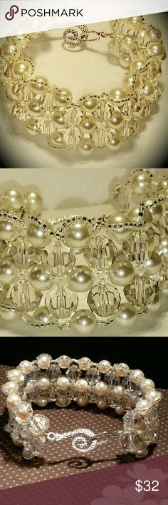 Cream Swarovski Pearls & Crystals Cuff Bracelet It's made of 8mm Swarovski cream ivory pearl beads, 10 mm faceted swarovski clear smoke beads, 4mm clear AB bicones, and silver lined seed beads.   This is a cuff style bracelet and it's about a size 8.5  Handmade item  Materials: ab clear bicones, silver lined seed beads, medal, Swarovski cream ivory pearls, swarovski faceted clear smoke beads  Questions? Contact closet owner Jewelry Bracelets