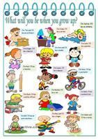 What will you be when you grow up? – jobs, present simple and futur...