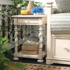 Carved End Table With One Drawer And An Open Display Shelf.Product: Side  TableConstruction · Paula DeenHowell FurnitureWolf ...