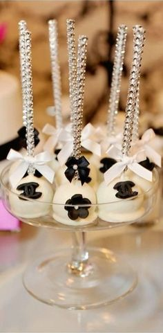 Cake pops at a Chanel 40th Birthday Party! See more party ideas at CatchMyParty.com!