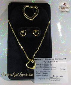 Paretti Vintage Jewelry Heart Set with Diamonds by DLSpecialties,