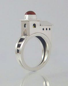 Church ring and earrings  Sterling Silver with Citrine dome and 18k gold cross inside.