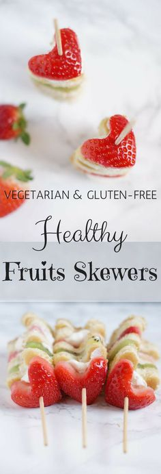 Healthy and gluten-free fruits and pancakes skewer. This is a vegetarian recipe and easy to make. The shape is perfect for Valentine's day or Mother's day.
