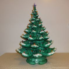 "HUGE 23"" Vintage Ceramic Christmas Tree with Lots of multi colored lights and light base with Music Box"