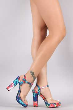 Floral Print Ankle Strap Chunky Platform Heel