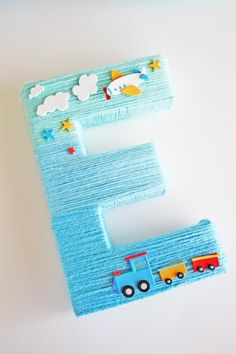 Blue Yarn Wrapped Ombre Monogram Letter| CatchMyParty.com