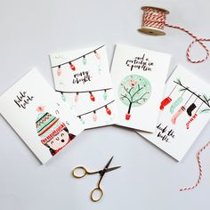 Illustrated Christmas Cards Set of 8 by TheLovelyDrawer on Etsy | art