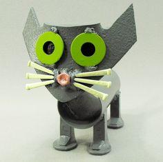 Folk Art Grey Cat Kitten Yard Art by OurUniquePerspective on Etsy, $45.00