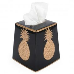 Hand Painted Toleware- Pineapple Black And Gold Tissue Box Cover - Liz Ann's Interior Design Boutique http://lizann.myshopify.com/products/hand-painted-toleware-pineapple-black-and-gold-tissue-box-cover