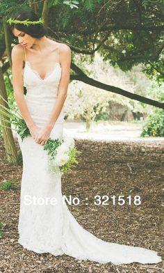 CE-257 Elegant Beautiful Backless Spagetti Straps Lace White / Ivory Bridal Wedding Dress Custom Made  Hawaii 3