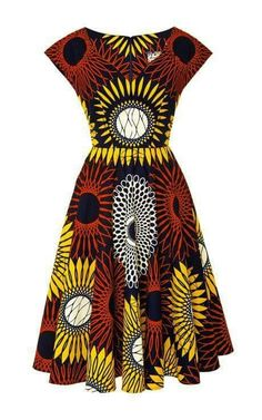 Sunflower Makeba Dress by Lena Hoschek – Moda Operandi - African fashion African Dresses For Women, African Print Dresses, African Attire, African Fashion Dresses, African Wear, African Women, African Prints, African Clothes, African Style