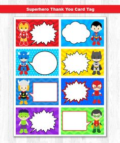 Superhero Thank You Tag Superhero Thank You Card Superhero