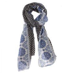 Bohemia Mehndi Scarf, Charcoal & Royal Blue