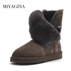 Real Fur Classic Waterproof Genuine Cowhide Leather Snow Boots Winter Women  Shoes 4ba4f6f0ed9a