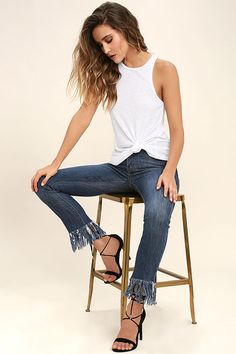 c8709dfe9fce9 The Daily Ritual White Tank Top will quickly become part of your everyday  routine! Ribbed