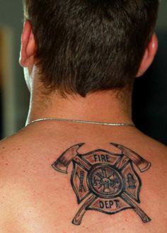 With a few changes i really like this i might get this Fireman tattoo - Tattoos Ems Tattoos, Body Art Tattoos, Tattoos For Guys, Sleeve Tattoos, Fireman Tattoo, Firefighter Tattoos, Firefighter Logo, Brother Tattoos, Religious Tattoos