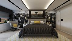 Bedroom design by Mialmi Design Bedroom, Bedroom Inspo, Bedroom Decor, Modern Contemporary, Bedrooms, Interior Design, Grey, House, Furniture