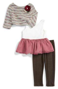 Pippa & Julie Knit Sweater, Peplum Tank & Leggings Set (Toddler Girls & Little Girls)