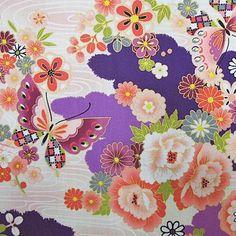 Butterflies and Flowers Japanese kimono cotton by AtelierLiaSan Japanese Textiles, Japanese Fabric, Japanese Kimono, Blue And White Fabric, Kimono Fabric, Shibori, Washi, Decoupage, Butterfly