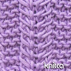 """Right side of knitting stitch pattern – Cable 9 : <a href=""""http://www.knitca.com"""" rel=""""nofollow"""" target=""""_blank"""">www.knitca.com</a>.  Cable :: 9 Garter stitch with vertical stripes made with tiny cables - this reversible stitch pattern calls for a scarf, wrap or blanket. You can also use it as an element or an all-over pattern on a stylish cardigan or sweater."""