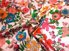 Lovely Bright Botanical Print on White Pure Silk Charmeuse