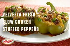 Try our recipe for Slow-Cooker Stuffed Peppers soon. The cheesy goodness of Slow-Cooker Stuffed Peppers only requires 15 minutes of prep time. Veggie Recipes, Mexican Food Recipes, Crockpot Recipes, Great Recipes, Dinner Recipes, Healthy Recipes, Velveeta Recipes, Crockpot Dishes, Favorite Recipes