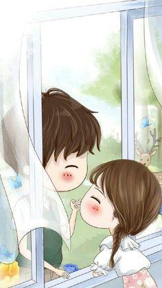girl, illustration, and kawaii image Cute Chibi Couple, Cute Couple Cartoon, Cute Couple Art, Anime Love Couple, Cute Anime Couples, Girl Cartoon, Couple Pics, Cute Love Wallpapers, Cute Couple Wallpaper