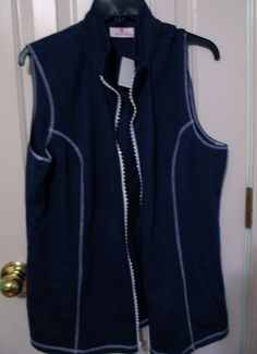NWT  Size Large Quacker Factory French Terry Zip Front Vest Navy Blue Embellishe #QuackerFactory