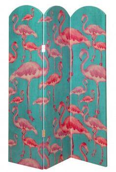 Flamingo Beach Fuchsia Room Divider