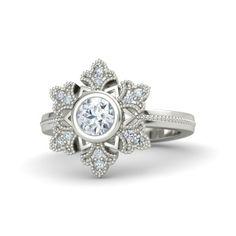 Round Diamond 14K White Gold Ring with Diamond | Snowflake Ring | Gemvara  So pretty!!