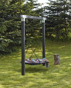 Kinderschaukel Cubic l Holzschaukel l Doppelschaukel l Nestschaukel l Schwarz - diy garden decor kids Backyard Swings, Backyard Playground, Backyard For Kids, Backyard Patio, Backyard Landscaping, Garden Kids, Landscaping Ideas, Pergola Ideas, Playground Ideas