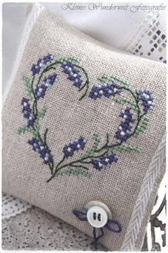 Embroidered Lavender Sachet by lupe Cross Stitching, Cross Stitch Embroidery, Embroidery Patterns, Hand Embroidery, Lavender Bags, Lavender Sachets, Cross Stitch Heart, Cross Stitch Flowers, Cross Stitch Designs