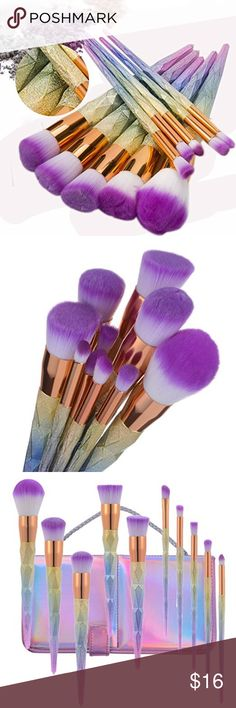 10pc diamond rainbow unicorn makeup brush set 100% Brand new and high quality. Full coverage with your powders or mineral makeup foundations,Use for applying mineral foundation, liquid foundation and also blush Bristles give you flawless coverage of your foundation, blush, and finishing powder Each brush is designed with long, easy-to-grip handle for precision during application suitable for all skin types Perfect for both professional use or personal use Makeup Brushes & Tools