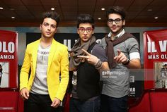 Singers of Italian opera pop Il Volo Gianluca Ginoble, Piero Barone and Ignazio Boschetto speak with the media during a press conference to promote their new album 'Mas Que Amor' at Presidente Intercontinental hotel on May 13, 2013 in Mexico City, Mexico.