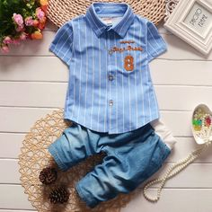 Number Embroidered Pinstripe Shirt Denim Sets https://www.popreal.com/Products/number-embroidered-pinstripe-shirt-denim-sets-12470.html #newbornsets         #newbornclothessets          #newbornbabyboysets          #newbornbabygirlsets   #popreal